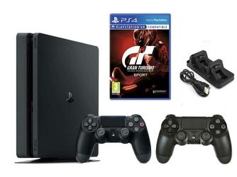 Konsola Sony PS4 1TB Slim + 2 Pady + Gran Turismo Sport + Ładowarka
