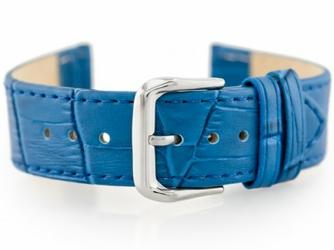 Pasek skórzany do zegarka W41 - niebieski - 20mm