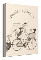 Doggie Taxi Service Sketch - obraz na płótnie