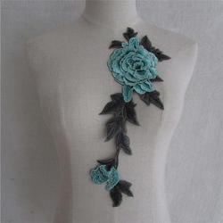 NASZYWKA APLIKACJA kwiaty RÓŻE. niebieska zielona - zieleń