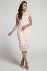 Koronkowa Jasnoróżowa Ołówkowa Sukienka Midi z Dekoltem V na Plecach