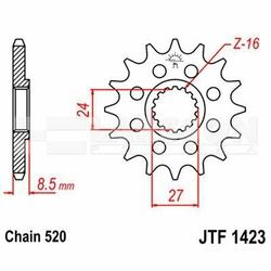 Zębatka przednia JT F1423-16, 16Z, rozmiar 520 2201377 Suzuki GSX-R 1000