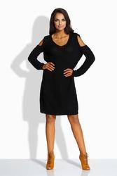 Czarna Swetrowa Sukienka z Wyciętymi Ramionami