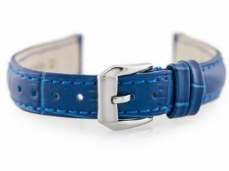 Pasek skórzany do zegarka W64 - niebieski - 12mm