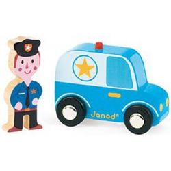 Janod Drewniany Wóz policyjny + figurka