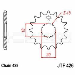 Zębatka przednia JT F426-15, 15Z, rozmiar 428 2201422 Suzuki RM 125