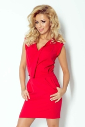Czerwona Mini Sukienka z Zakładanym Dekoltem