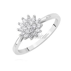 Srebrny pierścionek pr.925 z białą cyrkonią kształt kwiatu