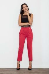 Czerwone Spodnie 78 w Kant z Mankietem