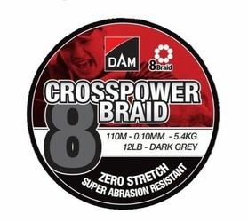 Plecionka DAM Crosspower 8-Braid 0.20MM 12,6KG28LB110M - Dark Grey