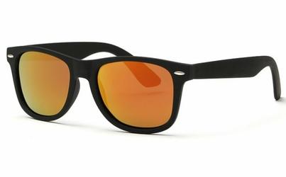 Czarno-pomarańczowe matowe lustrzane nerdy wayfarer z Polaryzacją