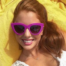 Okulary damskie przeciwsłoneczne kocie oko jasny fiolet - FIOLET