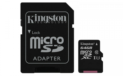 Kingston microSD  64GB Canvas Select 8010MBs adapter