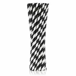 Słomki papierowe czarne w białe paski 250 szt.