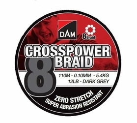 Plecionka DAM Crosspower 8-Braid 0.13MM 7,2KG16LB110M - Dark Grey