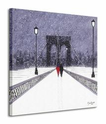 New York, Nighttime Stroll Across Brooklyn Bridge - Obraz na płótnie