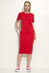 Czerwona Sukienka Midi Wiązana w Pasie