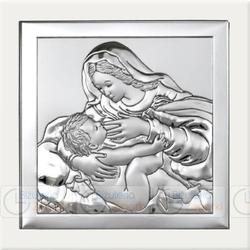 Obrazek BC64293W Matka Boska Karmiąca na białym drewienku 16 x 16 cm.