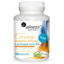 CYTRYNIAN MAGNEZU 100 mg z potasem 150 mg i B6 P-5-P 100 kapsułek VEGE