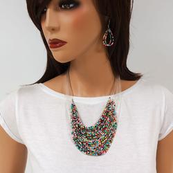 Naszyjnik kolczyki beads white - WHITE