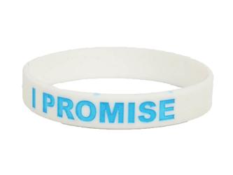 Opaska silikonowa I PROMISE - Biało niebieska