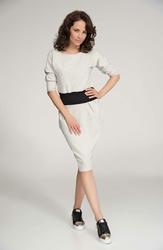 Beżowa Sukienka Midi z Kontrastowym Pasem