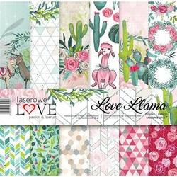 Papier do scrapbookingu 30x30cm Love Llama - zestaw