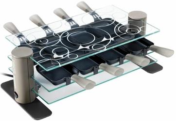 Raclette LAGRANGE 009801  3 półki z hartowanego szkła  900W  7 raclette patelnie