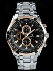 Zegarek meski PERFECT - MILTON - silverblackrose zp112h