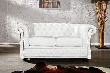 INTERIOR SPACE :: Sofa Chester White - biała 2-os. || bez funkcji spania || Sofa