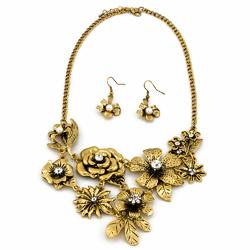Naszyjnik kolczyki flower gold - GOLD