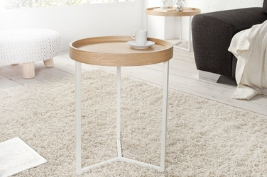 INTERIOR SPACE :: Stolik kawowy Honey 40cm biały dąb - drewniany || biały