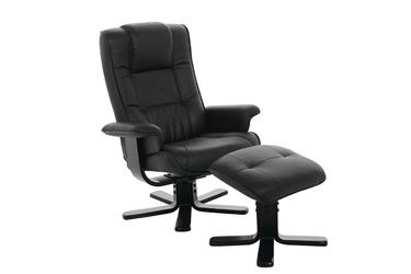 Fotel Lento rozkładany z podnóżkiem czarny ekoskóra