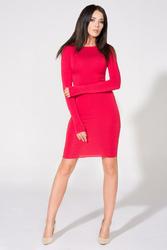 Czerwona Sukienka Bodycon z Dekoltem na Plecach