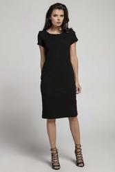 Czarna Wygodna Dzianinowa Sukienka za Kolano z Lampasem
