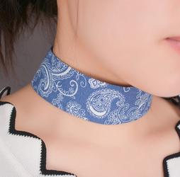 Choker wzorzysty niebieski - niebieski