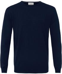 Sweter  pulower O-neck z wełny z merynosów granatowy XL