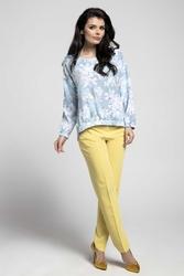 Niebieska Oversizowa Asymetryczna Bluzka z Gumkami