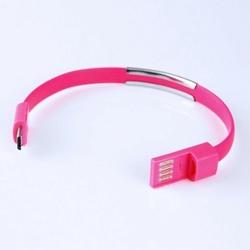 Global Technology Kabel USBmicroUSB bransoletka, różowy
