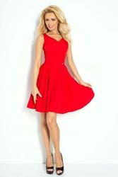 Czerwona Rozkloszowana Sukienka z Dekoltem V