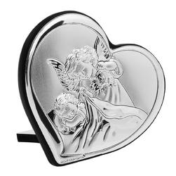Srebrny obrazek Aniołek z latarenką Serce Chrzest Grawer