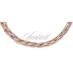 Naszyjnik srebrny 925 taśma pleciona warkocz - złoto i różowe złoto - 7 mm