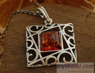 MIRANDA - srebrny wisiorek z bursztynem