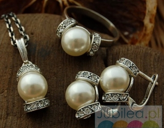 Srebrny komplet perły i kryształy CANNES