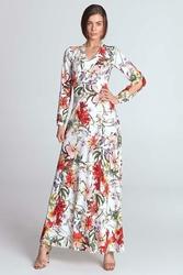 Ecru Sukienka Maxi w Kwiaty