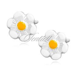 Srebrne kolczyki pr.925 emaliowane kwiatki