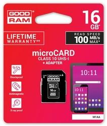 GOODRAM Karta microSDHC 16GB CL10 + adapter