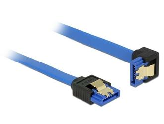 Delock Kabel SATA III 6Gbs 20cm kątowy prostodół metalowe zatrzaski niebieski
