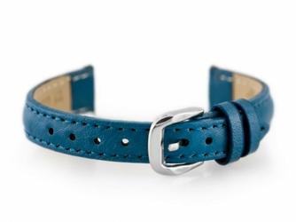 Pasek skórzany do zegarka W30 - w pudełku - niebieski - 14mm