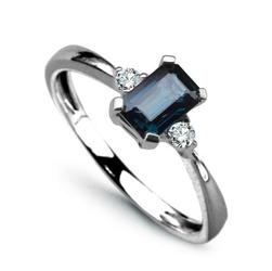 pierścionek białe złoto szafir diamenty